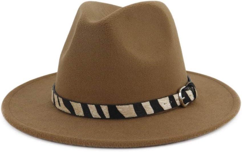 Men Women Solid Color Wide-Brimmed Cotton Fedora Hat Zebra Striped Belt Panama Autumn Winter Fashion Hat ZRZZUS (Color : Coffee, Size : 59-60cm)