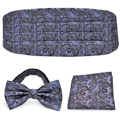 Lot nœud papillon, mouchoir et ceinture en soie PenSee pour hommes, plusieurs couleurs - - Taille Unique
