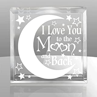 Kate Posh - I Love You to The Moon and Back Engraved Keepsake & Paperweight, 15th Anniversary, Weddings, Valentine's Day, Couples in Love Gifts, Husband & Wife, Boyfriend & Girlfriend
