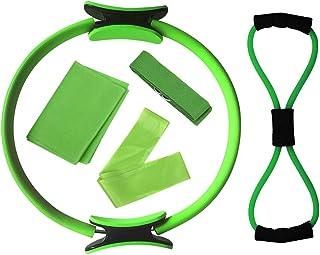 Decdeal 5pcs Yoga Equipment Set Pilates Ring Yoga Cotton Strap Resistance Loop Band Figure 8 Resistance Band Exercise Stre...