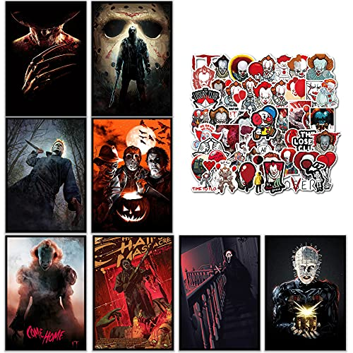 GTOTd Anime Horror Movie poster Wall Poster 8-Pack(with Clown stickers 50pcs)11.5' x 16.5', Unframed Version HD Canvas Printing Poster for Living Room Bedroom Club Wall Art Decor