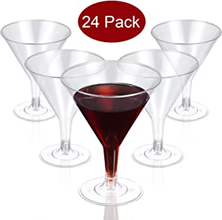 Clear Plastic Martini Glasses Disposable Martini Glasses, 6.5 OZ Disposable Plastic Cup Plastic Dessert/Cocktail Cups Great For Appetizers, Desserts, Mousse for Weddings Parties Picnic Supplies (24)