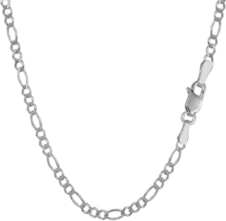 RMREWY Solid 925 Sterling Silver Italian 3.7mm Diamond Cut-Figaro Link Chain Necklace Fashion Jewelry for Men or Women for...