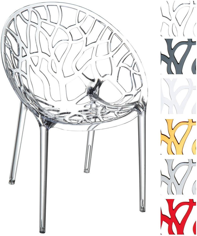 CLP Design-Gartenstuhl Crystal aus Kunststoff I WetterBestendiger Stapelstuhl mit Einer maximalen Belastbarkeit von 160 kg I whlbar transparent