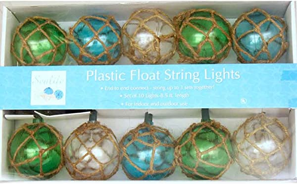 Vintage Glass Style Buoy Float String Lights Assorted Twine