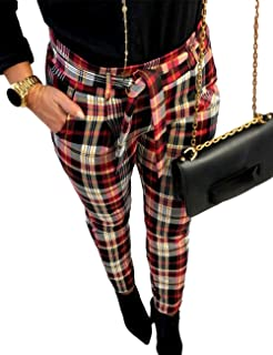 SOMTHRON Women's Oversize High Rise Striped Tie Waist Leggings Trousers Ankle Length Plaid Belted Cropped Tartan Pants