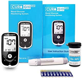 [CUROfit] CURO G10 Glucose Home Test Kit - Blood Sugar Monitor Device, 1 Lancing Device, 10 Test Strips!! Completion of Necessary Equipment for Test