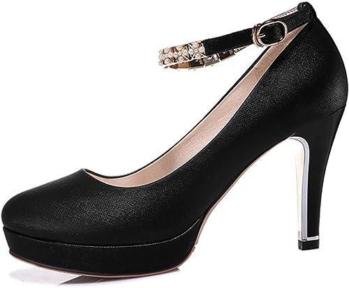 Plate-forme élégante Des Femmes Round Toe Pompes Ankle Strap Buckle High Heels Pour La Robe De Mariage