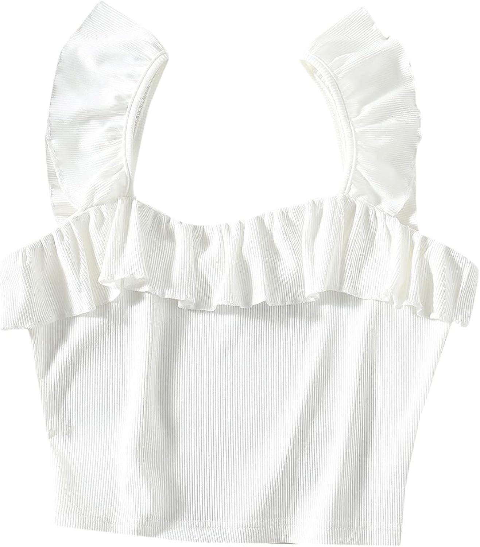 Verdusa Women's Ruffle Trim Strap Sleeveless Rib Knit Crop Tank Top
