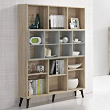 Maison Concept Oslo Shelf, Beige and Grey - H 1733 x W 300 x D 1200 mm