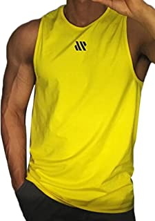 Men'sSleevelessO-Neck Vest,Solid Color Bottoming Tops Stretchy Fitness T-Shirt