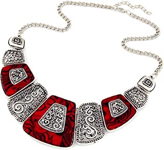 NOVADAB Ruby Marble Bohemian Art Statement Red Silver Plated Modern Women Jewelry Necklace