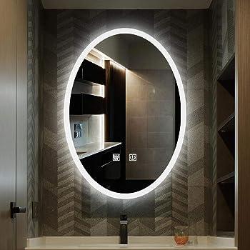 KS Specchi per Luce LED da Bagno Specchio da Parete Tondo Retroilluminato,Interruttore del sensore touch//Anti-fog,Luce fredda//luce calda,Pu/ò essere usato per la rasatura e il trucco durevo
