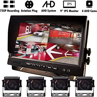 9 AHD Truck Parking Backup System & Built-in DVR Surveillance IPS Screen 4 Cameras 4-Channel Separate 720P HD Recording for Truck Bus Trailer Motorhome 12V-24V No-Light Night Vision 4-PIN Shockproof