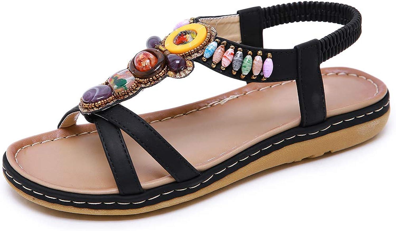 SaraIris Women's Flat Heel Open Toe Bohemia Rhinestone T-Strap Rhinestone Slip on Summer Beach Sandals