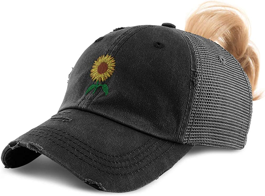 Custom Womens Ponytail Cap Sunflower A Embroidery Cotton Strap Closure