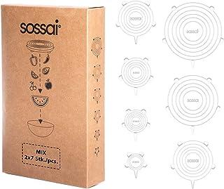 Sossai Stretch Lids - Juego de 14 | tapa elástica | Tapas silicona ajustables | Diferentes diámetros incluyendo XXL | Uso universal en la cocina | sostenible y reutilizable | Tazones, ollas, fruta