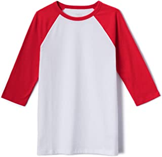 TSLA Kid's Dynamic Cotton Raglan Baseball 3/4 Sleeve Active Top T-Shirt