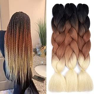 Ombre Kanekalon Braiding Hair 3 Pack Ombre Jumbo Braiding Hair Extensions 24 Inch Jumbo Braid Synthetic Hair for Braiding (Black-Brown-Blonde)