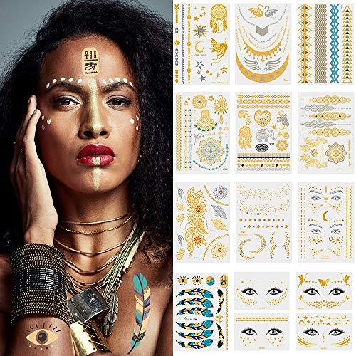 Lictin Tatuaggi Temporanei - 14 Fogli Tatuaggi Temporanei Metallici Flash Temporanei Temporaneo Tatuaggi Tattoo Impermeabile per Viso, Corpo