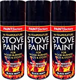 Black Heat Resistant Matt Black Spray Paint Stove High Temperature 400ml (3 Spray Cans)