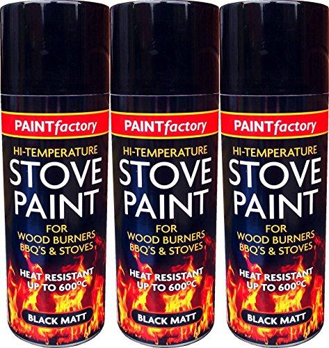 3 x Black Heat Resistant High Temperature Matt Spray Stove Paint 400ml