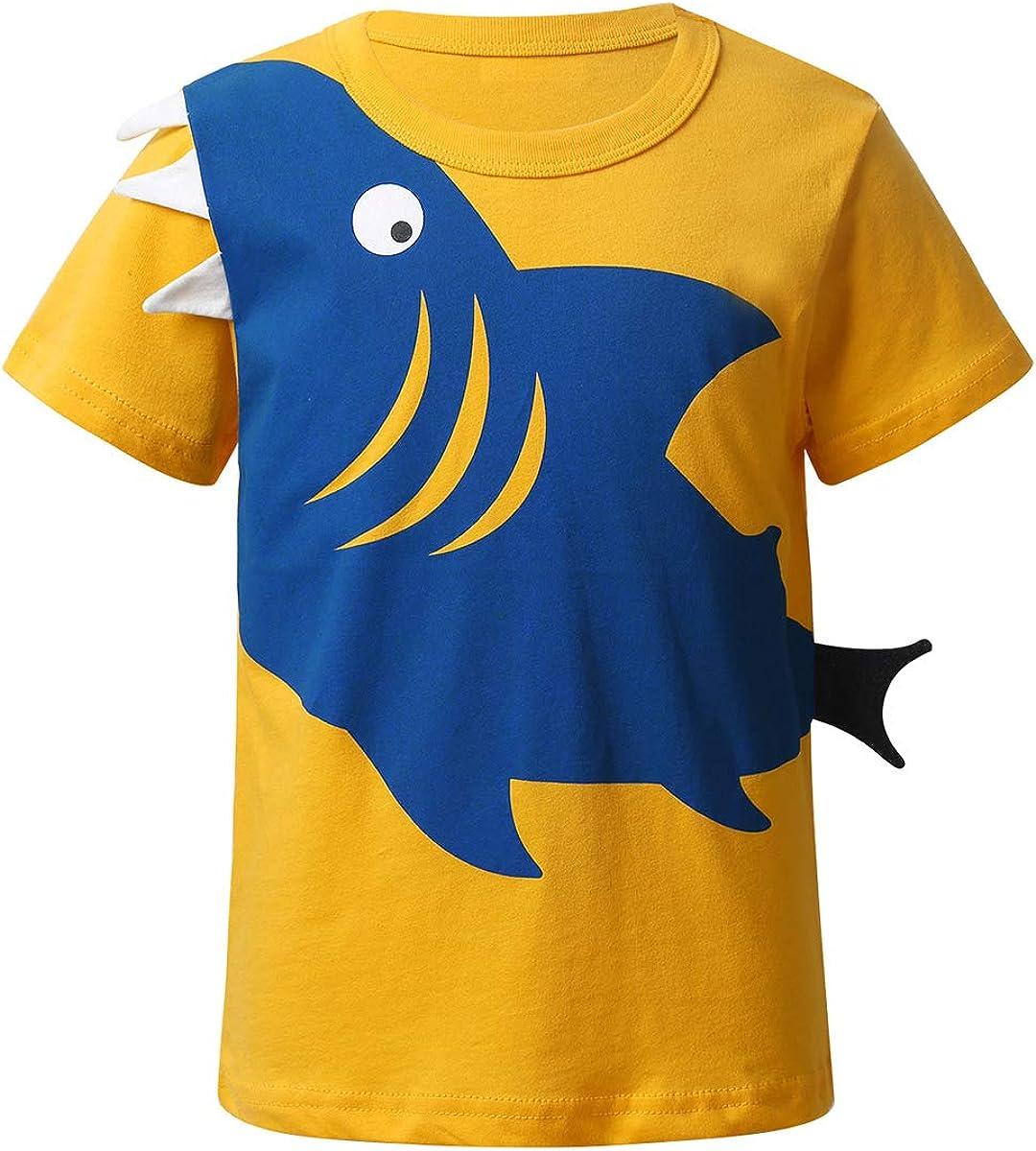 MSemis Kids Boys Shark Short Sleeve T Shirts Cotton Tank Top Summer Casual Wear Party Tees