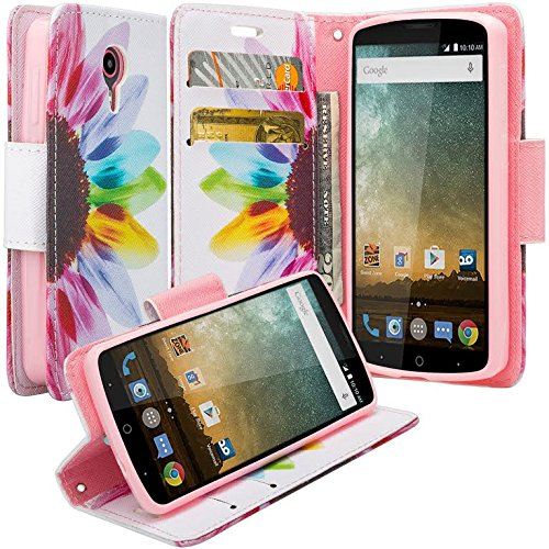 [Coverlab] Cute Girls Women Phone Case Compatible for ZTE Ultra/N817/Uhura/Quest Case Protective Pu Leather Wallet Case Wrist Stap & Kickstand - Sunflower