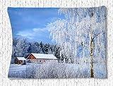 Irma00Eve - Tapiz Decorativo para el hogar, diseño de Casas de Madera con árboles de Nieve,...