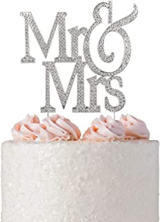 Mr and Mrs Cake Topper | Premium Crystal Bling Rhinestone Diamond | Wedding Anniversary Bridal Shower Bachelorette Party or Vow Renewal Decoration Ideas | Perfect Keepsake (Mr&Mrs Non-Script Silver)