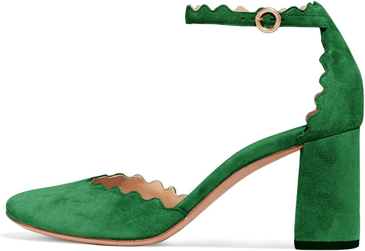 商舗 FSJ Women 営業 Comfortable Ankle Strap Round Pumps Chunky Heels Block