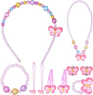 Larcenciel Kids Jewelry Little Girls Necklace Bracelet Ring Earring Set Candy Colors Necklaces Children Play Pretend Dress Up