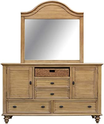 Sunset Trading Vintage Casual Dresser & Mirror, Plantation maple