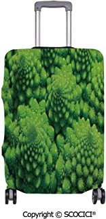 SCOCICI Anti-scratch Baggage Luggage Cover Protector Broccoli Kale Mother Earth Herbs Themed Fractal Background Foliage Modern Design Multi-function Travel Suitcase Cover (Cover ONLY, Suitcase NOT In