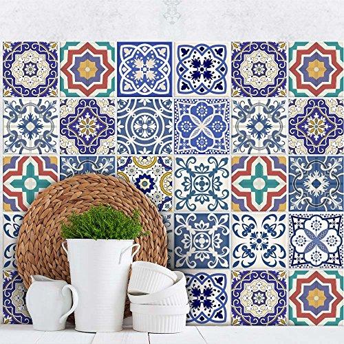 wall art PS00031 Adesivi in PVC per Piastrelle per Bagno e Cucina Stickers Design - Fantasia barocca