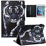Jorisa Tablet Case Compatible with iPad 9.7 2018/2017/iPad Air 2(iPad 6)/iPad Air(iPad 5),Slim Leather Wallet Flip Magnetic Smart Stand Cover with Auto Wake/Sleep and Card Slots,Black Tiger