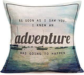 Smilyard Camping Vintage Home Decorative Throw Pillow Covers Cotton Linen AdventureNautical Style Pillow Case Cushion Cover Square Quote Pillow Cover 18x18 Inch for Sofa (VB 04)