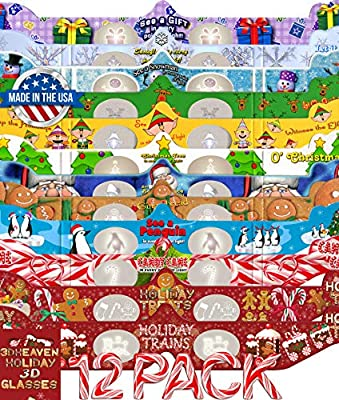 Holiday 3D Glasses 12 Pack with Exclusive Styles Holiday Treats & Holiday Trains