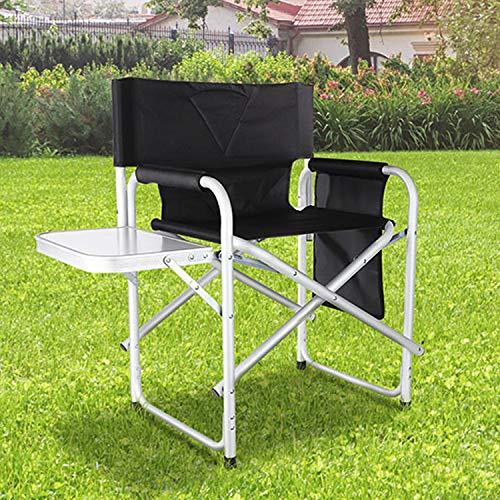 Mojawo Campingstuhl Regiestuhl Outdoor Camping Stuhl mit Seitentasche & Klapptisch schwarz klappbar Aluminium