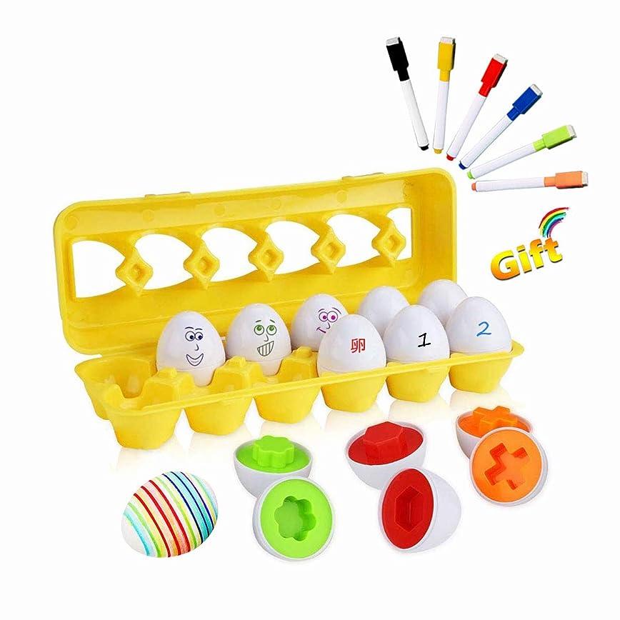 苦行一次しゃがむモンテッソーリ 知育玩具 12 卵 パズル + 6 色 ペン - Sendida 学習おもちゃ ブロックおもちゃ 12カラーシェイプ マッチングエッグセット はめこみ 形合わせ 学習玩具 (卵12個+6ペン)