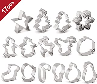 Christmas Cookie Cutters 17pcs Holiday Metal Molds, Star, Angel, Christmas Tree, Gingerbread Man, Snowflake, Ugly Sweater, Santa, Reindeer, Bell, Snowman and More Shapes Cookie Cutter Set