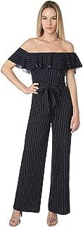 Women's Off The Shoulder Ruffle Pinstripe Scuba Crepe Chic Pants Jumpsuit