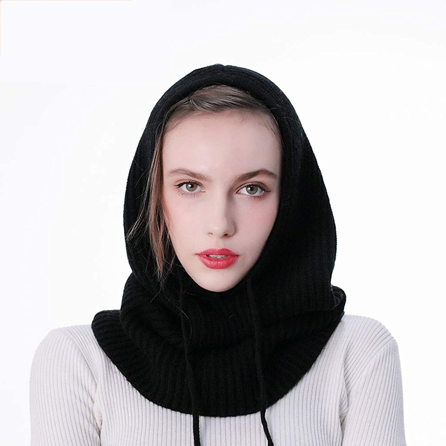 CCF Thick Wool Scarf Hooded Dualuse OnePiece Collar Autumn and Winter Men and Women Knitted Sleeves Bib Hat V (color   Black)