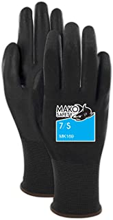 MAKO Safety General Purpose Coated Work Gloves - Ultra Thin & Touchscreen Capable, Black, Size 8 (12 Pair), 8/M