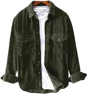 neveraway Mens Turn Down Collar Retro Corduroy Premium Casual Loose T-Shirts
