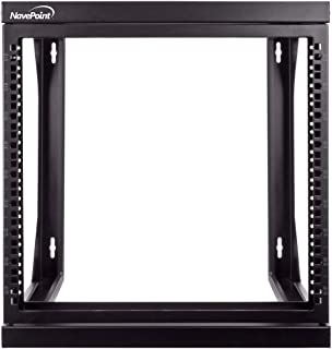 NavePoint 9U Wall Mount IT Open Frame 19 Inch Rack with Swing Out Hinged Gate Black