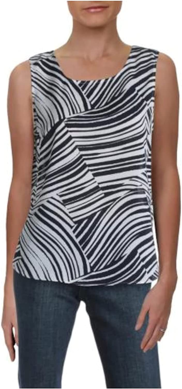 DKNY Womens Black Sheer Animal Print Sleeveless Scoop Neck Tank Top Size PM