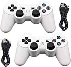 Tidoom PS3 Controller 2 Pack Wireless Bluetooth 6-Axis Gamepad Controllers Compatible for Playstation 3 Dualshock 3 White 2 pcs
