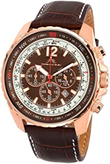 porsamo Bleu Martin Genuine Leather Rose Tone & Brown Men 's Watch 351Amal
