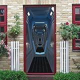 Door Mural Spaceship Interior DIY HD Door Mural PVC Door Stickers Removable Wall Murals for Home Decoration Door Decal 77X200cm
